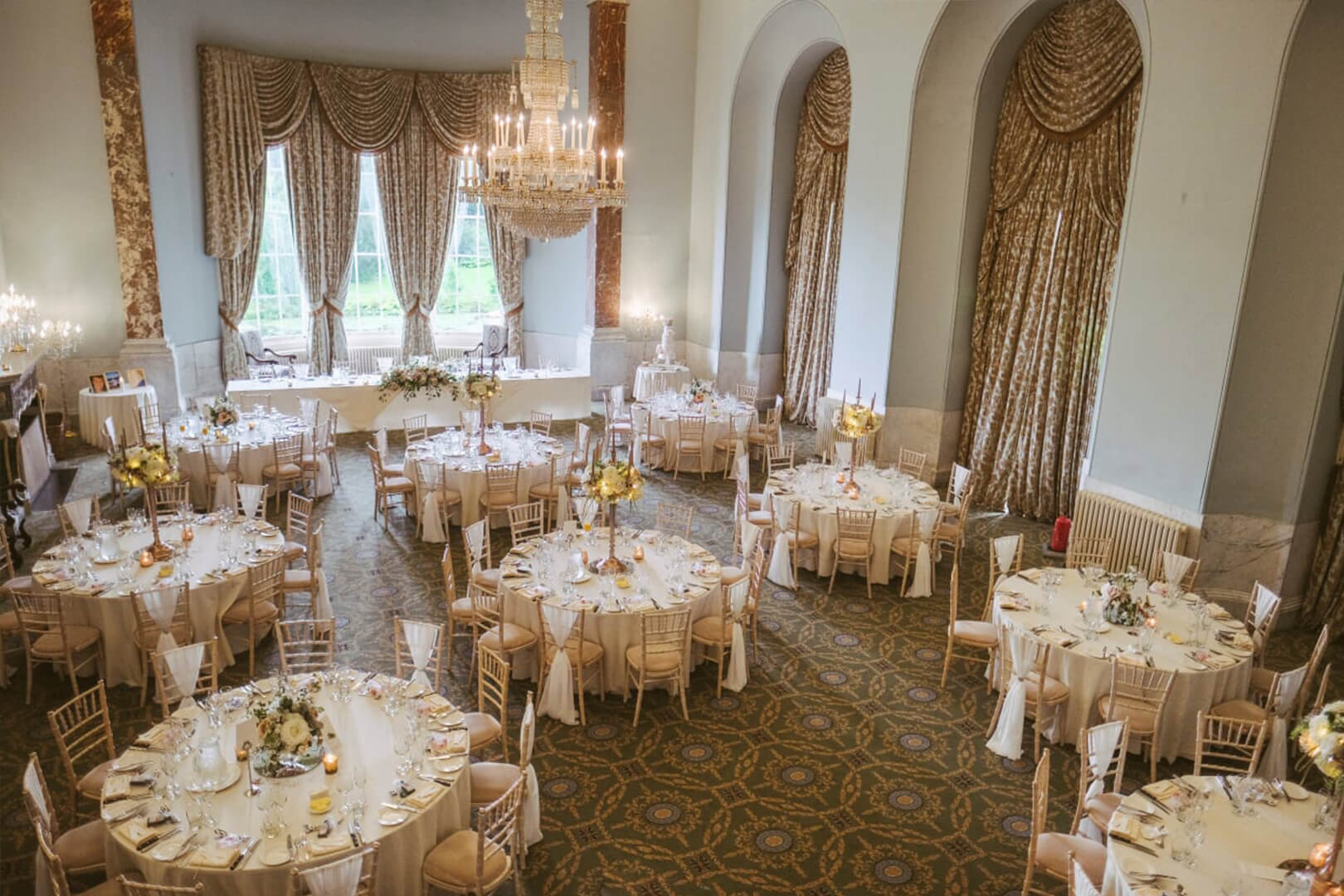 """<p>A stunning space for ceremonies and wedding breakfasts, the Ballroom is inlaid with exquisite marble and Florentine fireplaces was once said to be """"one of the most magnificent rooms in the country"""".</p>"""