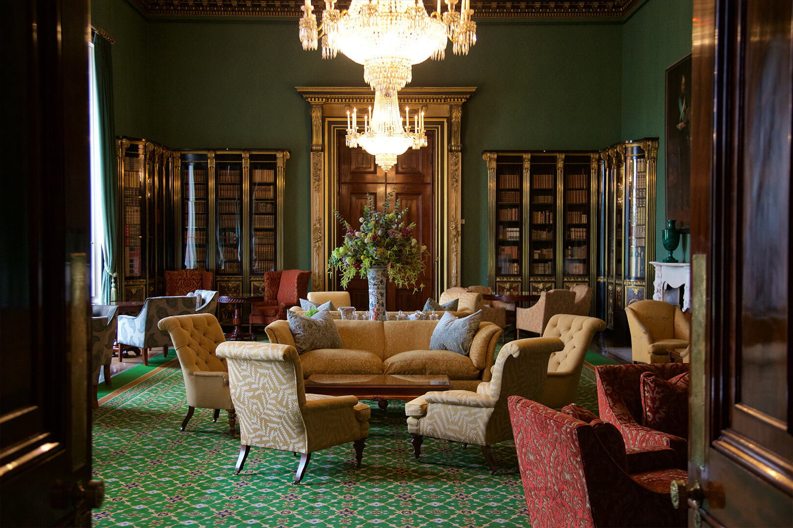 <p>Soft and sumptuous, the library is the perfect place to retire after an evening of revelry.</p>
